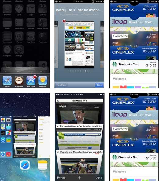 iOS 7 versus  iOS 6 - Les écrans de navigation